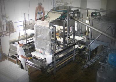 Strojní zařízení na formování měkkých sýrů a jejich vkládání do tvořítek. Provital milk, a.s., 2002-2003