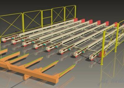 Řemenová dráha pro dopravu barvených armovacích sítí. (Koncový uživatel - Xella CZ s.r.o.) 2005