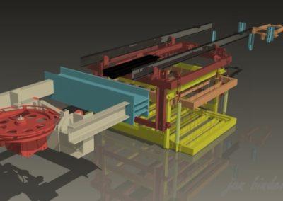 Část 8smi násobné dráhy strojní technologie tažené lany k odvzdušnění odlevu ve zracím poli. Linka 1 (Koncový uživatel - Xella CZ s.r.o. - realizace 2005)