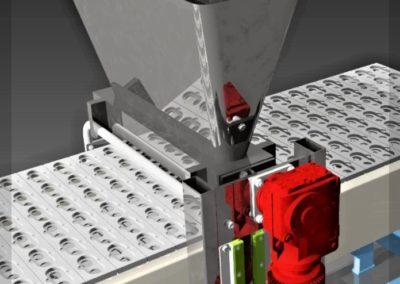Část technologie na slepování lineckých rohlíčků. Konstrukční spolupráce - Jan Pfeffer (Koncový uživatel - Pekárny a cukrárny Klatovy a.s., provoz Olšany 2005)
