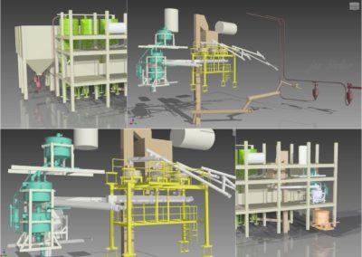 Konstrukce technologického souboru přípravy suroviny pro odlev porobetonu - zapracování do stávajících prostor. (Koncový uživatel - H+H Celcon Most - realizace 2006)