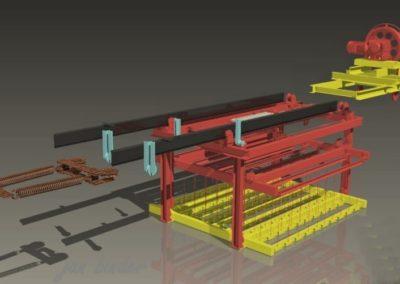 Část 9ti násobné dráhy strojní technologie tažené lany k odvzdušnění odlevu ve zracím poli. Linka 2 (Koncový uživatel - Xella CZ s.r.o. - realizace 2007)
