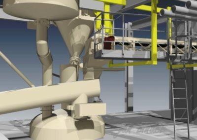 Konstrukce a příprava technologického souboru dopravy e-sádrovce - konstrukce úprav a zaústění v licí věži. (Koncový uživatel - Xella CZ s.r.o.) Realizace - 2012