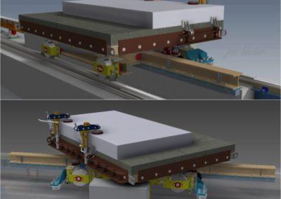 Platforma-vozík s přímým pojezdem, otočným stolem a upínacími prvky pro NC provoz pily na výrobu schodnicových dílců z armovaného porobetonu. (Koncový uživatel - Xella CZ s.r.o.) Realizace - 2012