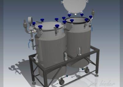 konstrukce zásobních regenerátorù kvasnic v technologické spolupráci pro minipivovar. Realizace - 2013