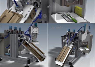 Montážní a lisovací poloautomaty na výrobu skalpelů s plastovou rukojetí - řešení pro čistý prostor. (Catwin, s. r. o. - SK) Realizace - 2014-2015