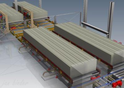 Konstrukce zařízení pro automatizované vytahování a manipulaci s distančními kolíky z výrobních roštů a jejich zakládání do roštů - Manipulátory - vytahovače a zakladače, manipulační dráhy a řetězové dopravníky pro rekonstrukci části balící linky (Koncový uživatel - Xella CZ s.r.o.) 2015-2016