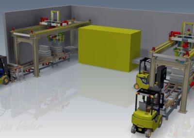 Zařízení pro manipulaci s betonovými bloky a výrobky, řetězové dráhy, obracení bloků a manipulátory (JVK Lité s.r.o., Koncový uživatel - BEST a.s.) 2016